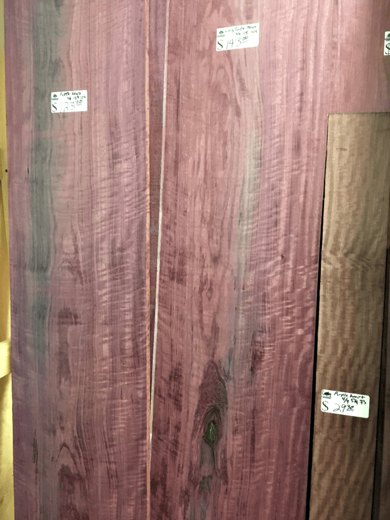 Purpleheart lumber priced to sell at Bailey Wood Products