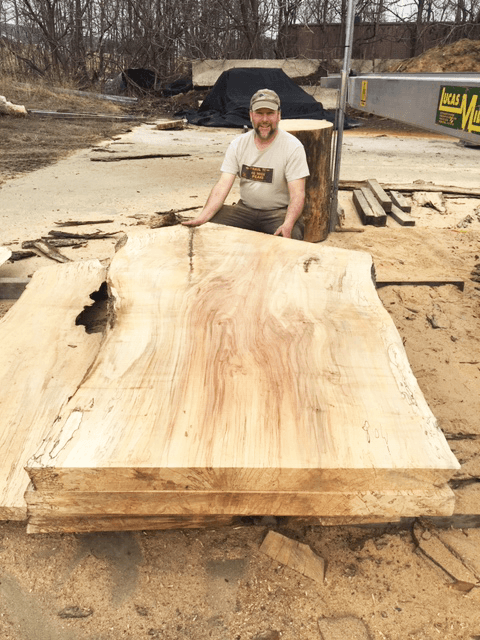 Jeff Shucker with Live Edge Spalted Maple Slabs for Sale at Bailey Wood Products