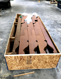 Ipe Pergoala Elements destined for the Bahamas. Custom Created by Bailey Wood Products
