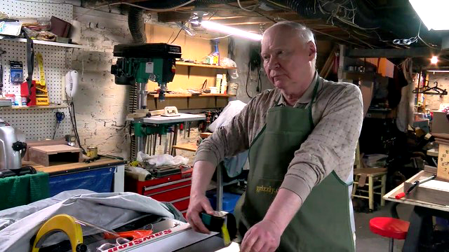 Lenny McHugh working in his Woodshop.