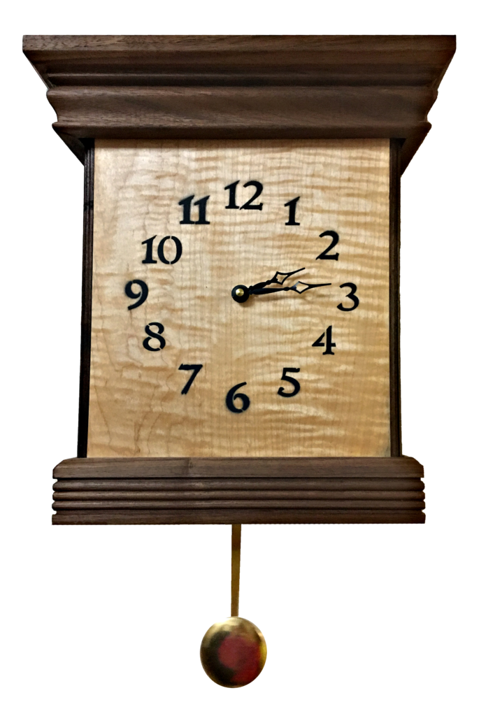 Curly Maple and Walnut Clock Designed and Created by Featured Woodworker, Lenny McHugh