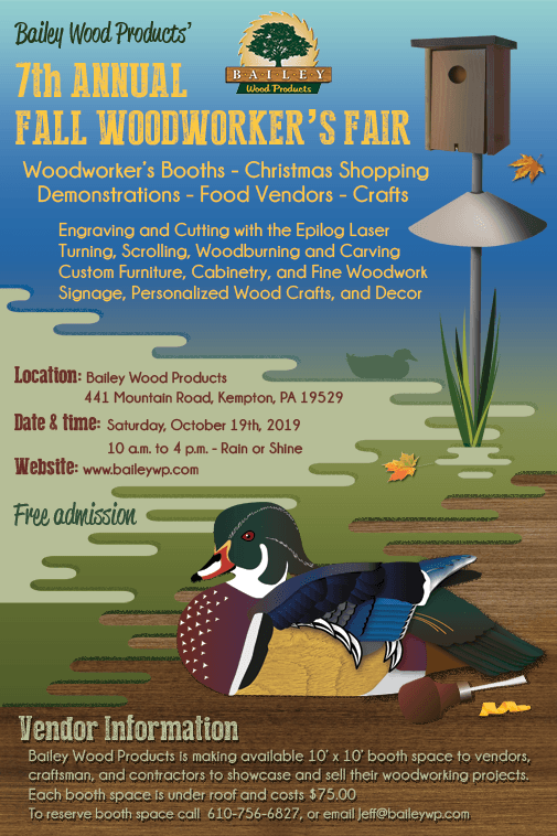 Bailey Wood Products 7th Annual Fall Woodworker's Fair 2019