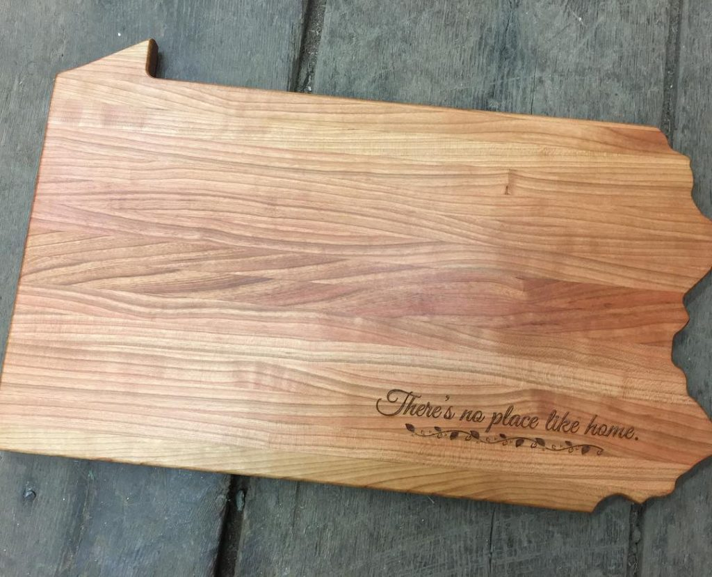 Wood Cutting Board shaped like Pennsylvania